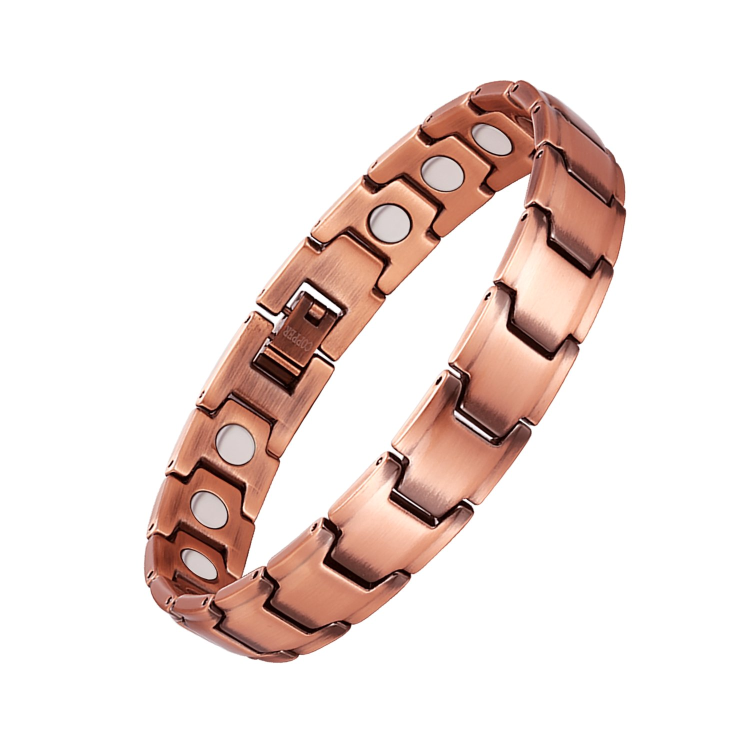 Feraco Men's Copper Bracelet Strong Magnetic Therapy for Arthritis Pain Relief with Free Removal Tool