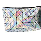 Fun Silver Holographic Cosmetic & Makeup Bag Triangle Pattern For Kids, Teens, & Adults Perfect for Cosmetics, School, Toiletries, Or Clutch Bag 9 in. x 5 in.