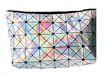 7679ca9bb1 Fun Silver Holographic Cosmetic   Makeup Bag Triangle Pattern For Kids