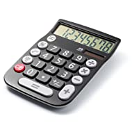 Office+Style A2DESKTOPBLACK 8 Digit Dual Powered Desktop Calculator, LCD Display, Black