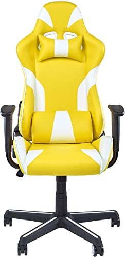IDS Online Video Gaming Ergonomic Chair, Executive Swivel Racing Style High-Back Office Lumbar Support, Yellow