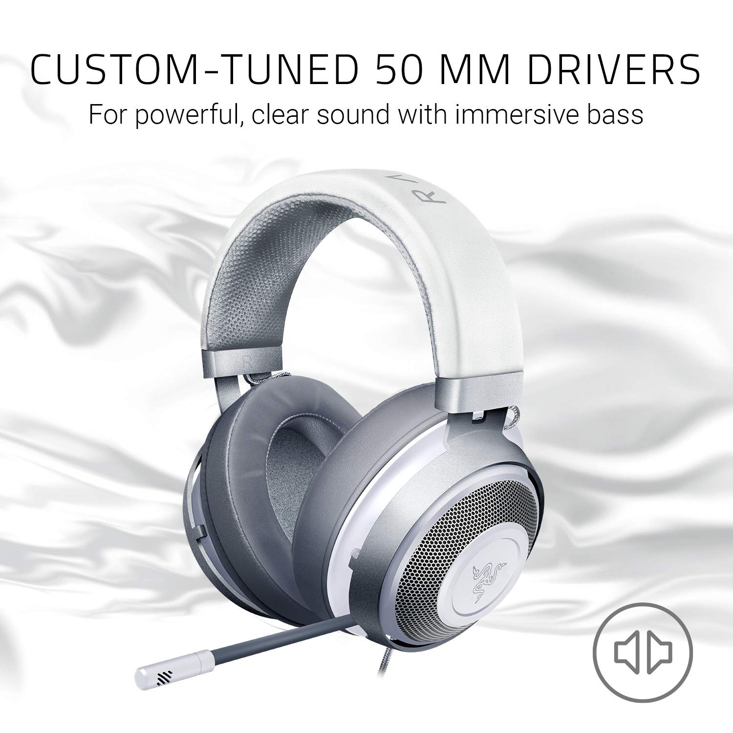 Razer Kraken Gaming Headset 2019: Lightweight Aluminum Frame - Retractable  Noise Cancelling Mic - for PC, Xbox, PS4, Nintendo Switch - Mercury White