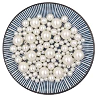 Elwish Pearl Beads112pcs Loose Pearls Round Pearl Beads Ivory Pearls Vase Filler Pearls DIY Jewelry Necklaces Bracelet Wedding Floating Candle Birthday Party Home Decoration