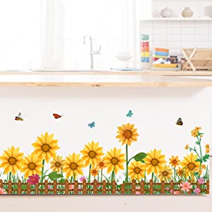 Sunflower with Butterflies Skirting Line Wall Decals, Garden Fence Yellow Flowers Baseboard Wall Stickers Mural Art for Bedroom Living Room Nursery Kindergarten Classroom, Multi Color, 33.9x14.2inch