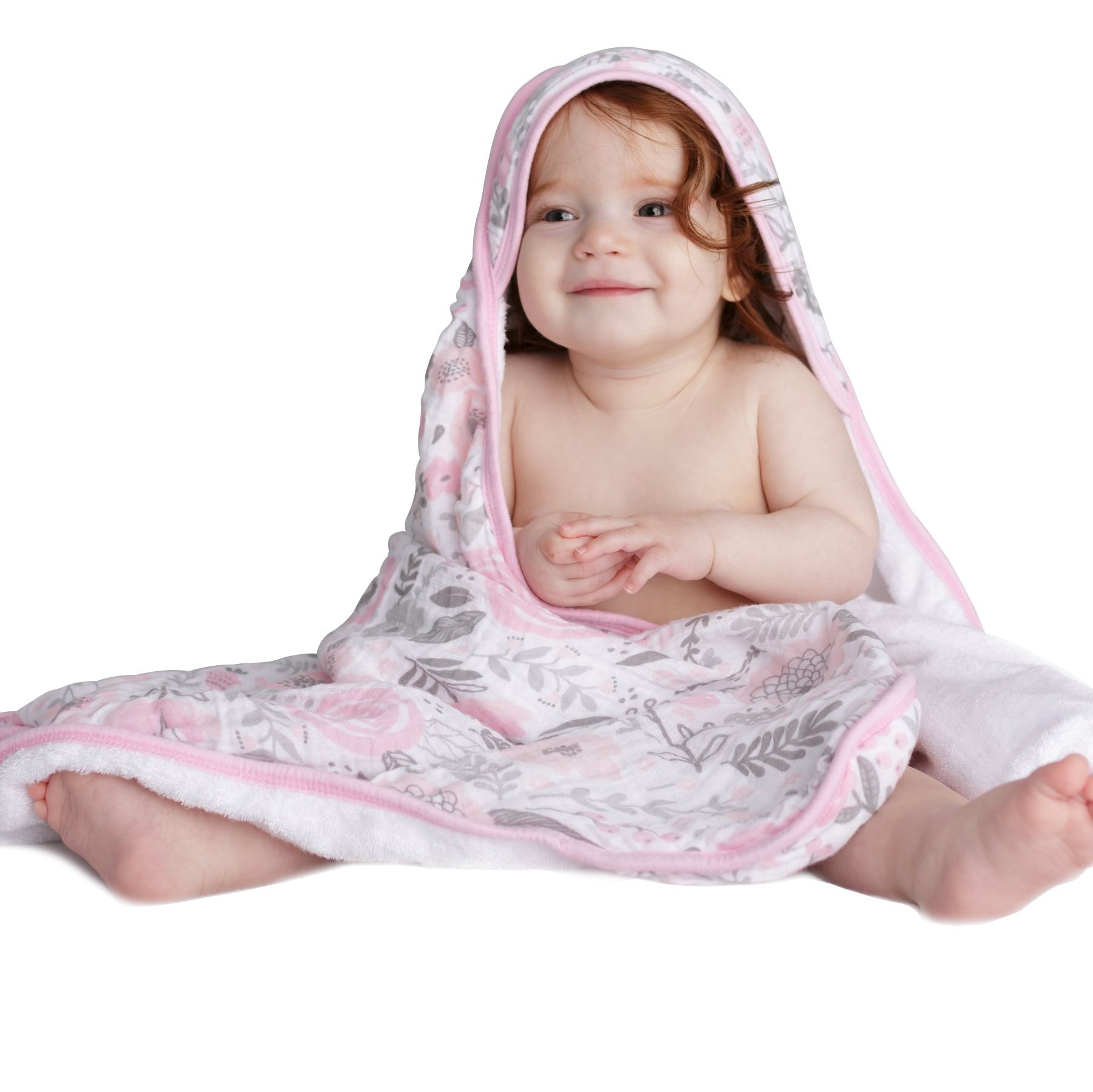 Luxury Kids Hooded Towel by Lulu Love Baby Blossom - Perfect for Infants and Babies - 100% Cotton Muslin with Extra Soft Rayon from Bamboo Liner - 33 x 33 inches - Bonus Washcloth - Shower Gift by Lulu Love Baby