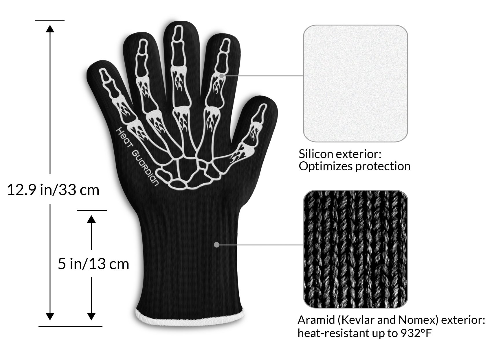 """Heat Guardian Heat Resistant Gloves – Protective Gloves Withstand Heat Up To 932℉ – Use As Oven Mitts, Pot Holders, Heat Resistant Gloves for Grilling – Features 5"""" Cuff for Forearm Protection by Heat Guardian (Image #4)"""