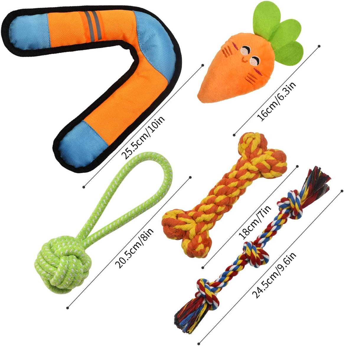 Pack of 5 BearFun Dog Toy Set for Small Dogs Puppy Teething for Small//Medium Dog Pets Puppy Rope,Teething,Squeaky,Chew Toys Tough Durable Dental Chew Toys Kit for Middle Breeds
