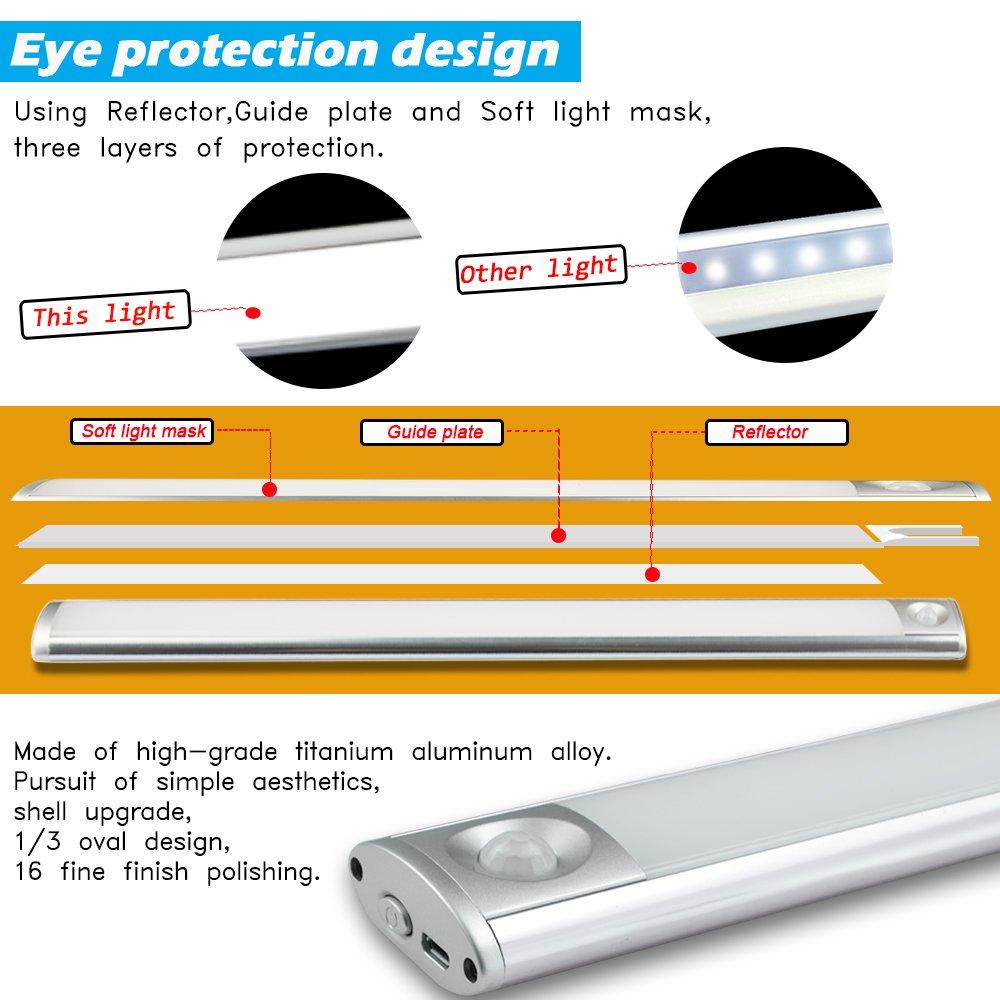 Luz Nocturna USB Recargable, 57 Luces LED con Sensor de Movimiento, Luz de Interruptor Automático de 4 Modos, Instalación de Banda Magnética, ...