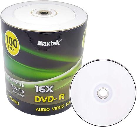 Amazon.co.jp: Maxtek 高品質 白 DVD-R DVDR インクジェット HUB 印刷 ...