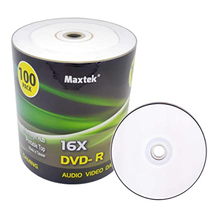 image about Printable Blank Cds named Maxtek High quality Quality White Inkjet HUB Printable DVD-R DVDR 16x Blank Disc, 4.7GB, 120min. 100 Computers Pack.