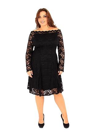 Plus Size Womens Lace bardot off shoulder swing dress (20, Black ...