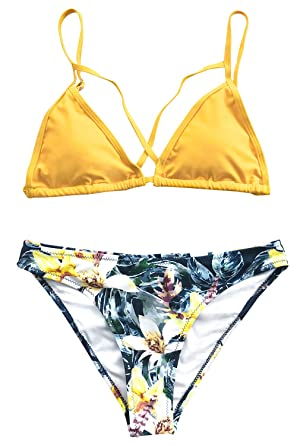 3e387163252 Amazon.com: CUPSHE Women's Yellow Floral Cross Triangle Thong Low ...
