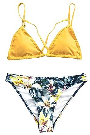 932cba3059e Amazon.com: CUPSHE Women's Yellow Floral Cross Triangle Thong Low ...