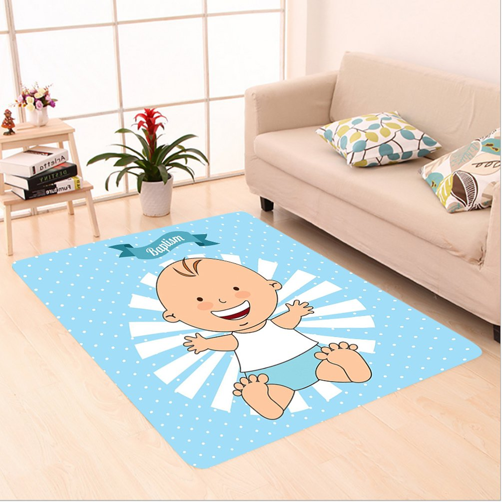 Nalahome Custom carpet orations Baptism Design Happy Boy Christening Striped Dotted Background Christian Religion Theme area rugs for Living Dining Room Bedroom Hallway Office Carpet (5' X 8') by Nalahome