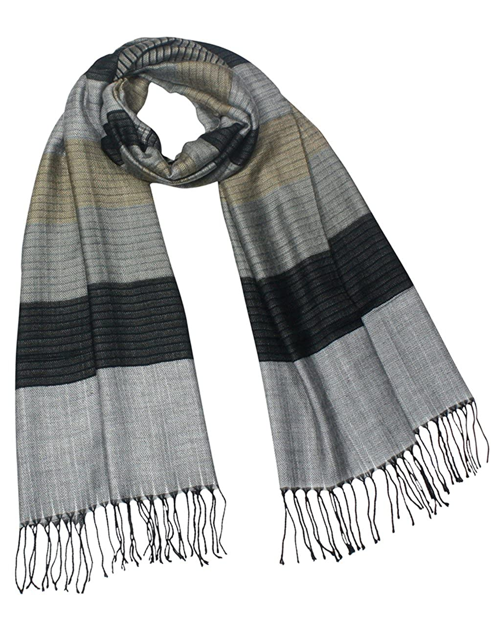 Dahlia Men's Awning Stripe Rayon Blend Long Scarf SF0213RAM-GY