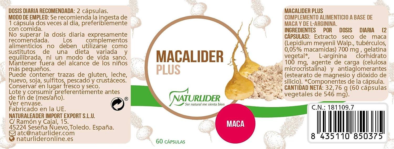 Naturlíder Macalíder Plus Energizantes Vegetales - 60 Cápsulas: Amazon.es: Salud y cuidado personal