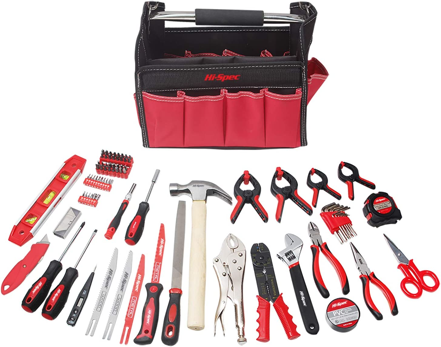 Hi-Spec 101pc Home, Office, Garage and Workshop Tool Set of Most Popular Tools in Tool Tote Bag for Everyday DIY, Decorating, Hobby, Plumbing, Electronics Repair, Arts and Crafts
