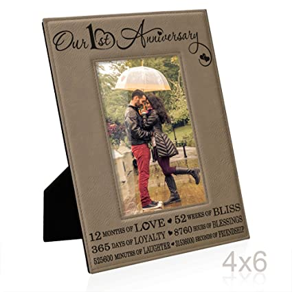 Our First 1st Anniversary End Leather Picture Frame Gifts For Couple