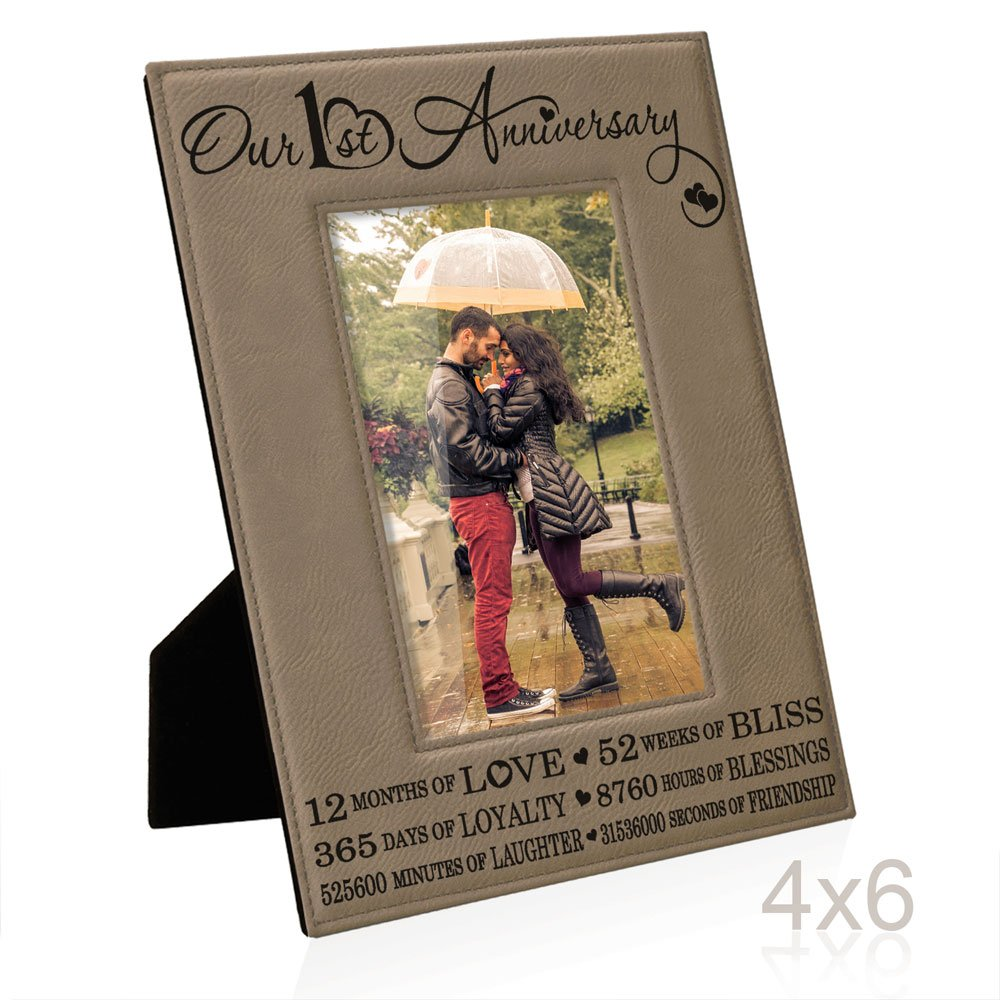 Our First (1st) Anniversary Engraved Leather Picture Frame - Gifts for Couple, Gifts for Him, Gift for Her, Paper Anniversary Gifts, Picture Frame, First Wedding Anniversary Gifts (4x6-Vertical)