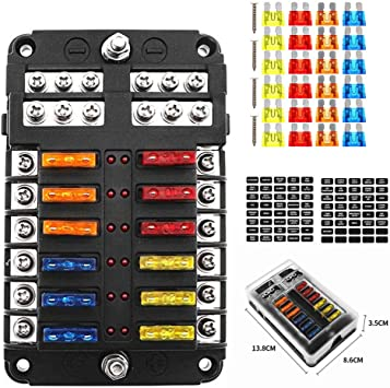 Amazon.com: Marine Fuse Blade Block 12 Way Fuse Box Holder with Negative  Bus 12 Circuits Fuse Box with LED Indicator Damp-Proof Protection Cover  Sticker for Automotive Car Boat RV Truck: AutomotiveAmazon.com