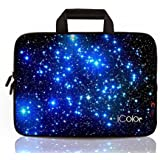 """iColor - Fashion Starry 11.6""""-12"""" Inch Netbook/ Laptop / Chromebook / MacBook Ultra-Portable Neoprene Zipper Carrying Bag Sleeve Briefcase Pouch Bag Tote w/ Handle (IHB12-003)"""
