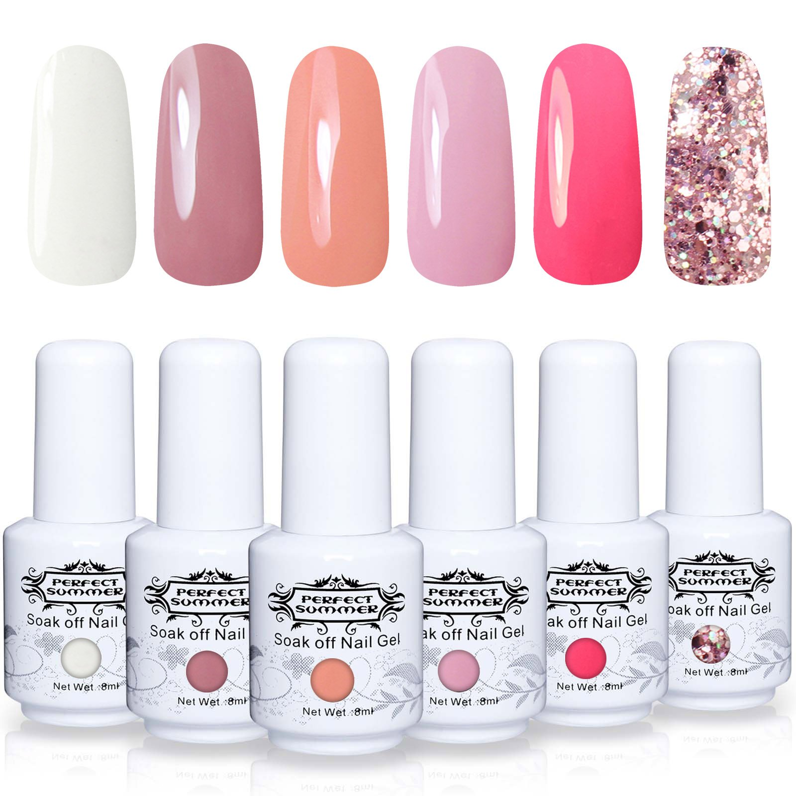 Perfect Summer Soak Off Nail Gel Polish - UV LED Gel Polish Varnish Autumn Winter Series Collection Pack of 6 Coral White Pink Colors Trend Gift Set 8ML 005 by Perfect Summer