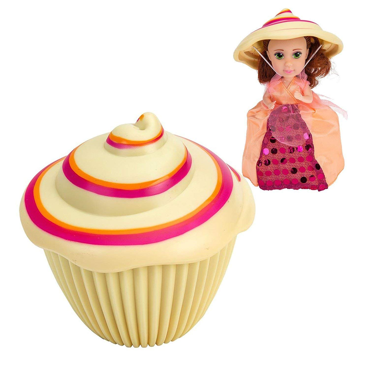 Cupcake Surprise Princess Edition Scented Doll Esther Matching Mini Surprise Doll Esther Set of 2 Bonus Bling Clip-ON Lipgloss Sunny Days