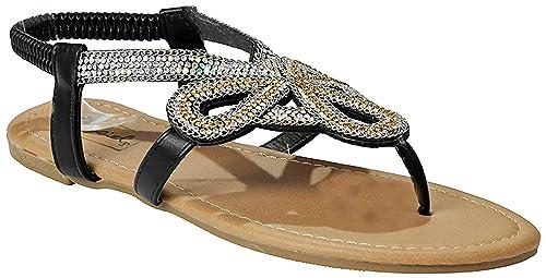 05cd840cb Women s Athena Black Floral Rhinestone Metallic Chain Buckle T-Strap  Comfort Cushioned Thong Sandals-