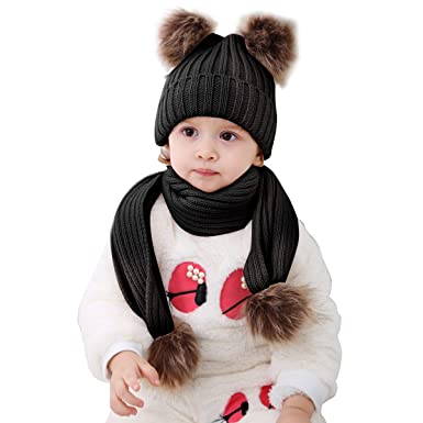51e1109e7187 2pcs Baby Winter Hat Scarf Set