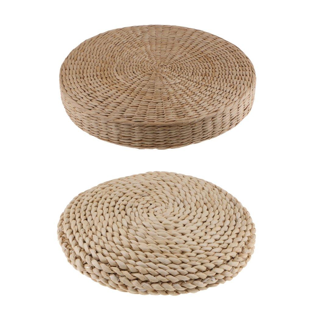 MonkeyJack Set 2 Pieces Handmade Straw Seat Cushion Pad Tatami Futon Yoga Mat Chair Pads, 2 Types- DIa.30cm/40cm