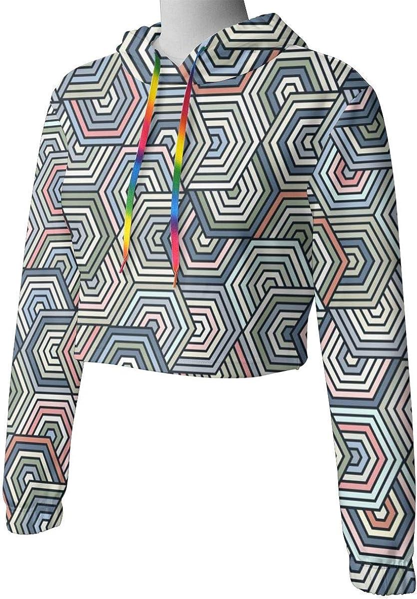 Womens Hoodie Sweater Hexagon Pattern Crop Top Sweatshirt Lumbar Sweatshirt Cropped Hoodie