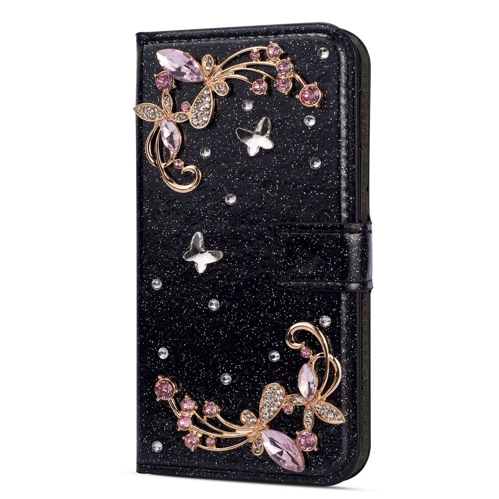 Amocase Glitter Case with 2 in 1 Stylus for Samsung Galaxy M10/A10,Luxury Diamond 3D Crystal Butterfly Flower Magnetic Wallet Leather Stand Case for Samsung Galaxy M10/A10 - Black