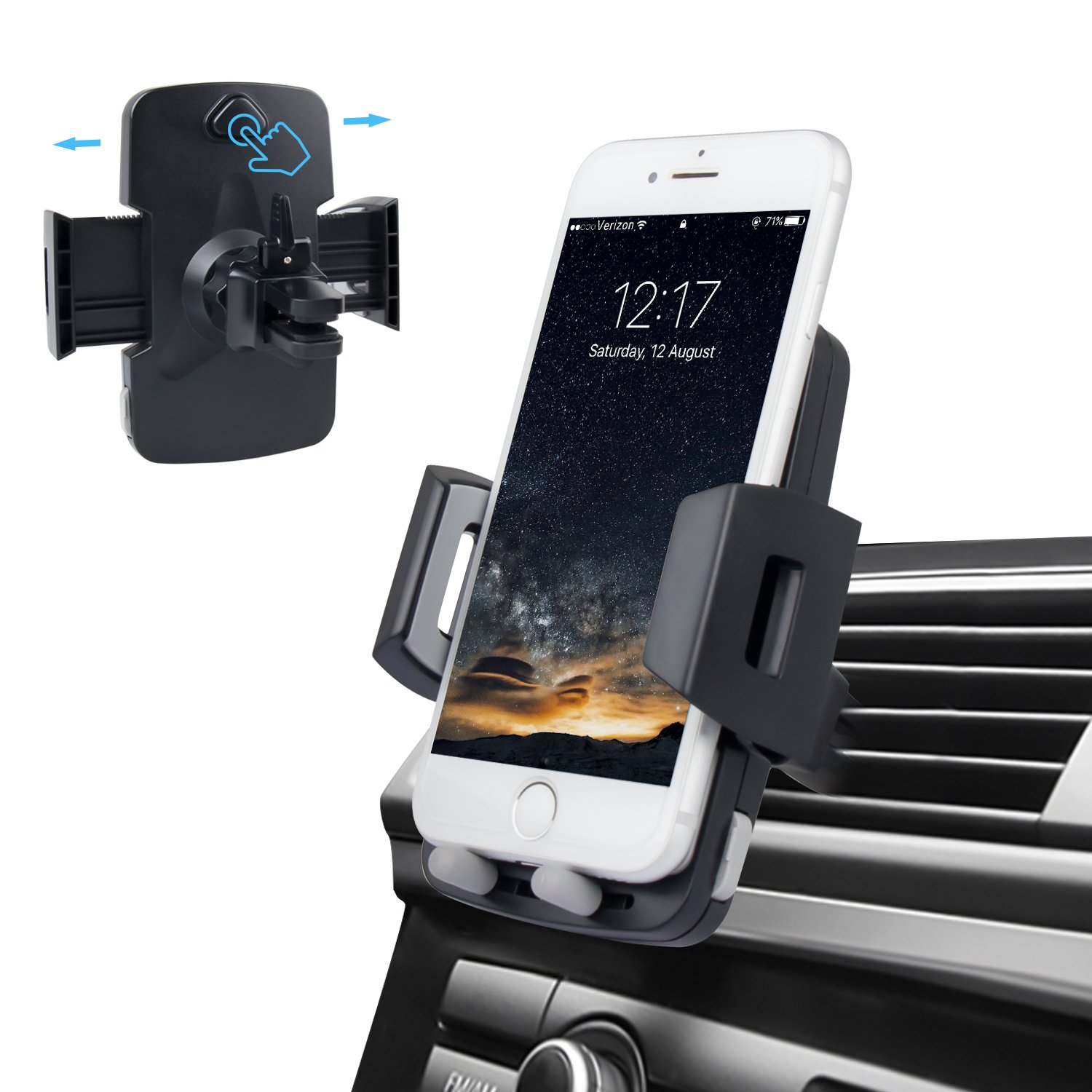 LUXEAR Air Vent Car Phone Holder Universal Phone Car Holder with 360 Rotation and Quick Release Button for iPhone 7 7 Plus 6s 6s Plus 5s 5c Samsung Galaxy S7 LG Sony and More