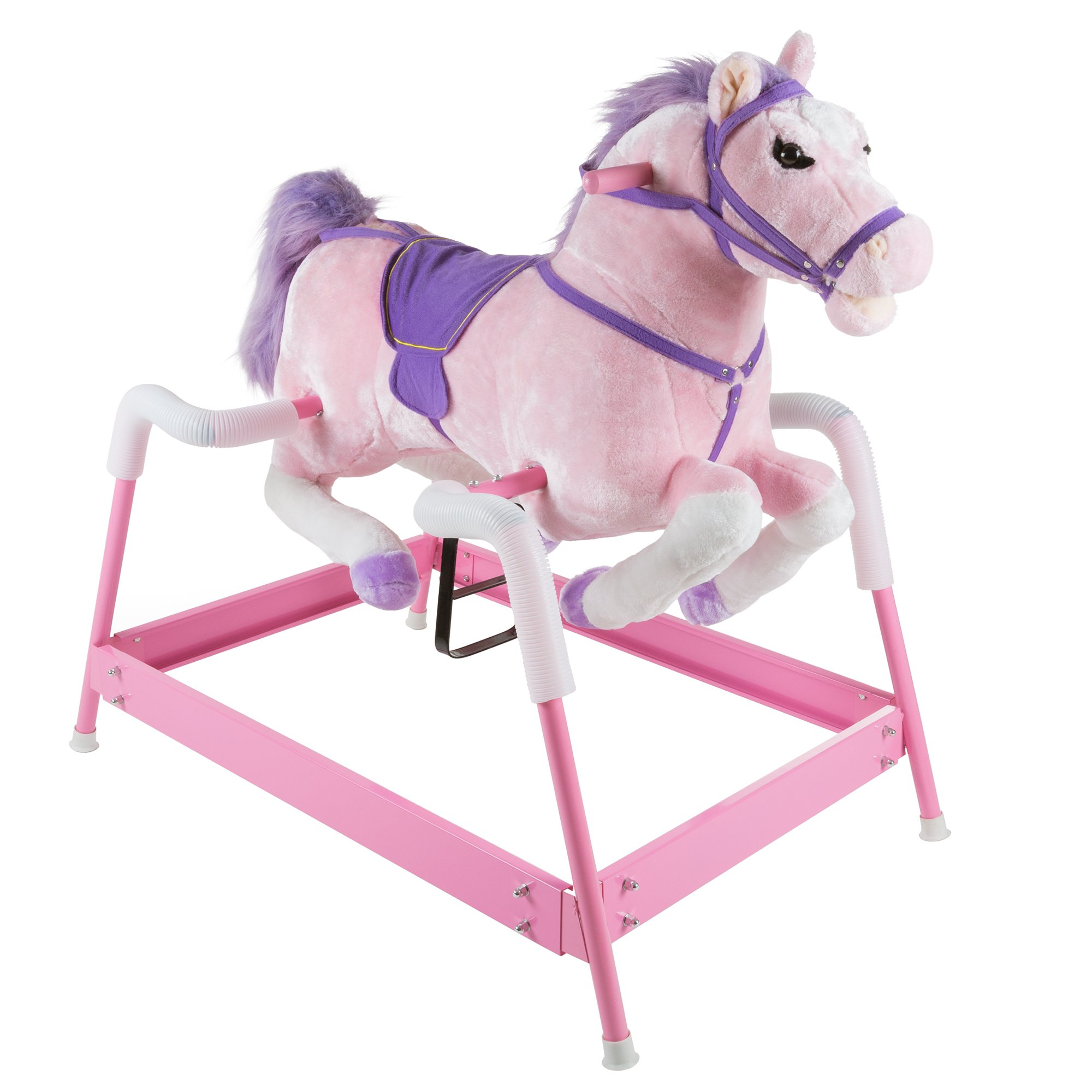 Spring Rocking Horse Plush Ride on Toy with Adjustable Foot Stirrups and Sounds for Toddlers to 5 Years Old by Happy Trails - Pink