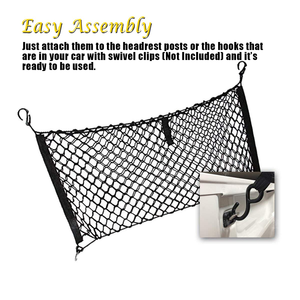 VaygWay Trunk Cargo Net Organizer Grocery Accessories Stretchable Pickup Truck Bed Net Rear Car Storage Organizer Net Mesh Hammock Truck SUV Jeep