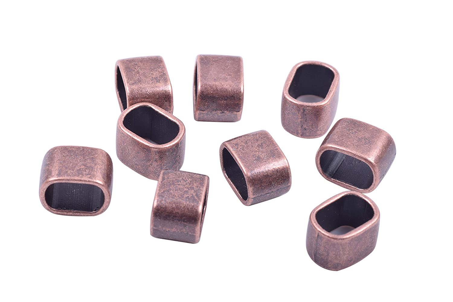 KONMAY 30pcs 10.3x7.0mm Slider Spacer Charms Beads for Jewelry Making Antique Copper