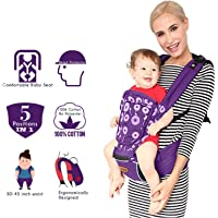 Kiddale Cotton Baby Carrier Sling Bag with Head Protector, Detachable Hip Seat, Adjustable Waist Strap for 30-45inch Waist Purple