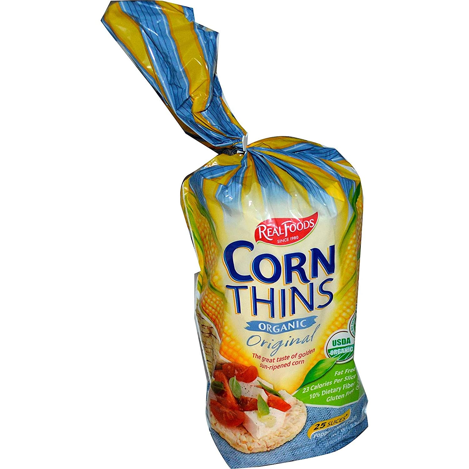 Real Foods Organic Corn Thins, Original Flavor, Bag, 5.3 oz