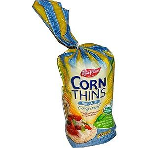 Real Foods Organic Corn Thins, Original Flavor, Bag, 5.3 oz