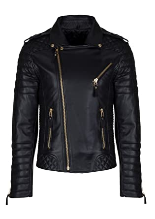 04bd531853c1 Men Genuine Lambskin Quilted Real Leather Motorcycle Slim fit Biker Jacket:  Amazon.co.uk: Clothing