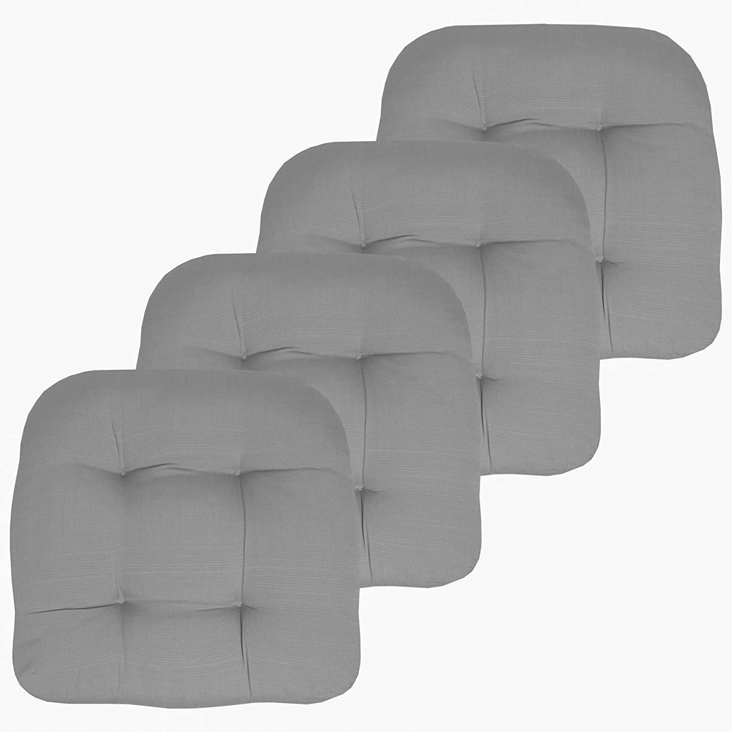 "Sweet Home Collection Patio Cushions Outdoor Chair Pads Premium Comfortable Thick Fiber Fill Tufted 19"" x 19"" Seat Cover, 4 Pack, Silver"
