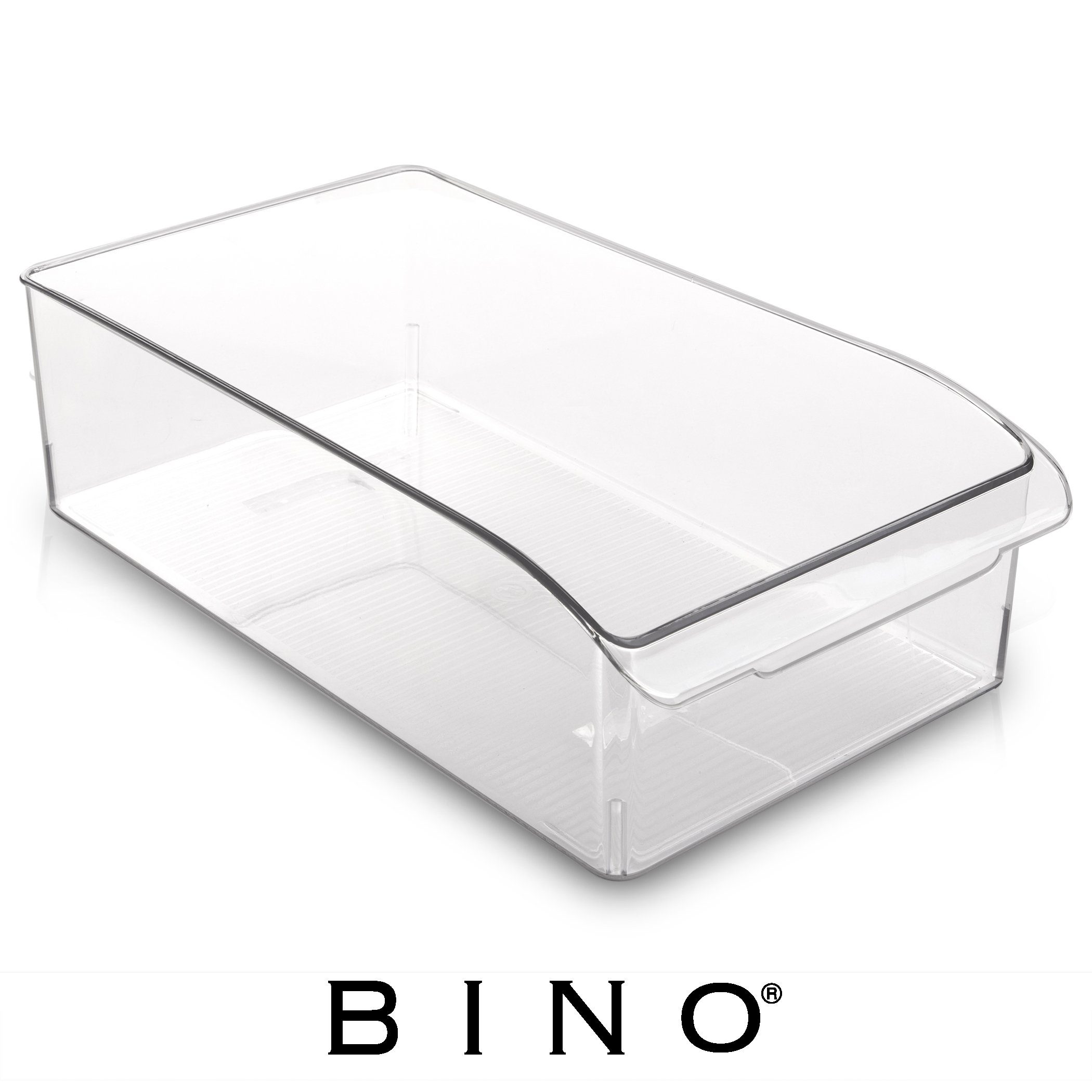 BINO Refrigerator, Freezer and Pantry Cabinet Storage Drawer Organizer Bin, Clear and Transparent Plastic Nesting Container for Home and Kitchen with Built-In Pull Out Handle, Medium