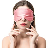 COLD POSH 16mm Silk Sleep Mask,Soft Eye Mask with Adjustable Strap,Eye Cover for Sleeping,Travel,Work,Meditation,Night Blindfold Eyeshade,Pink M