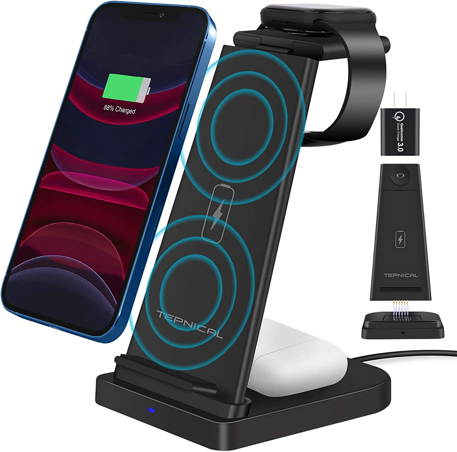 Wireless Charger,Qi-Certified 15W Max Fast Wireless Charging Stand,3 in 1 Charging Dock Station with Quick Adapter for Apple Watch 6/5/4/3/2/SE,Airpods Pro,iPhone 12 Pro/11/XR/12/Xs/X/8P/8,Qi Phones