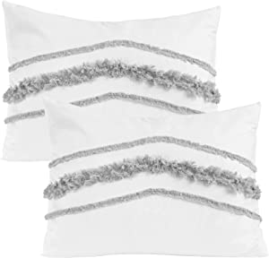 Minimalist Macrame Boho Chic White and Grey Set of 2 Pillow Cases Standard Queen Pillowcase Sham Cover Set Bed Tufted Knotted Tassel Fringe Cotton Decorative Accent College Dorm Teen Home Room Decor