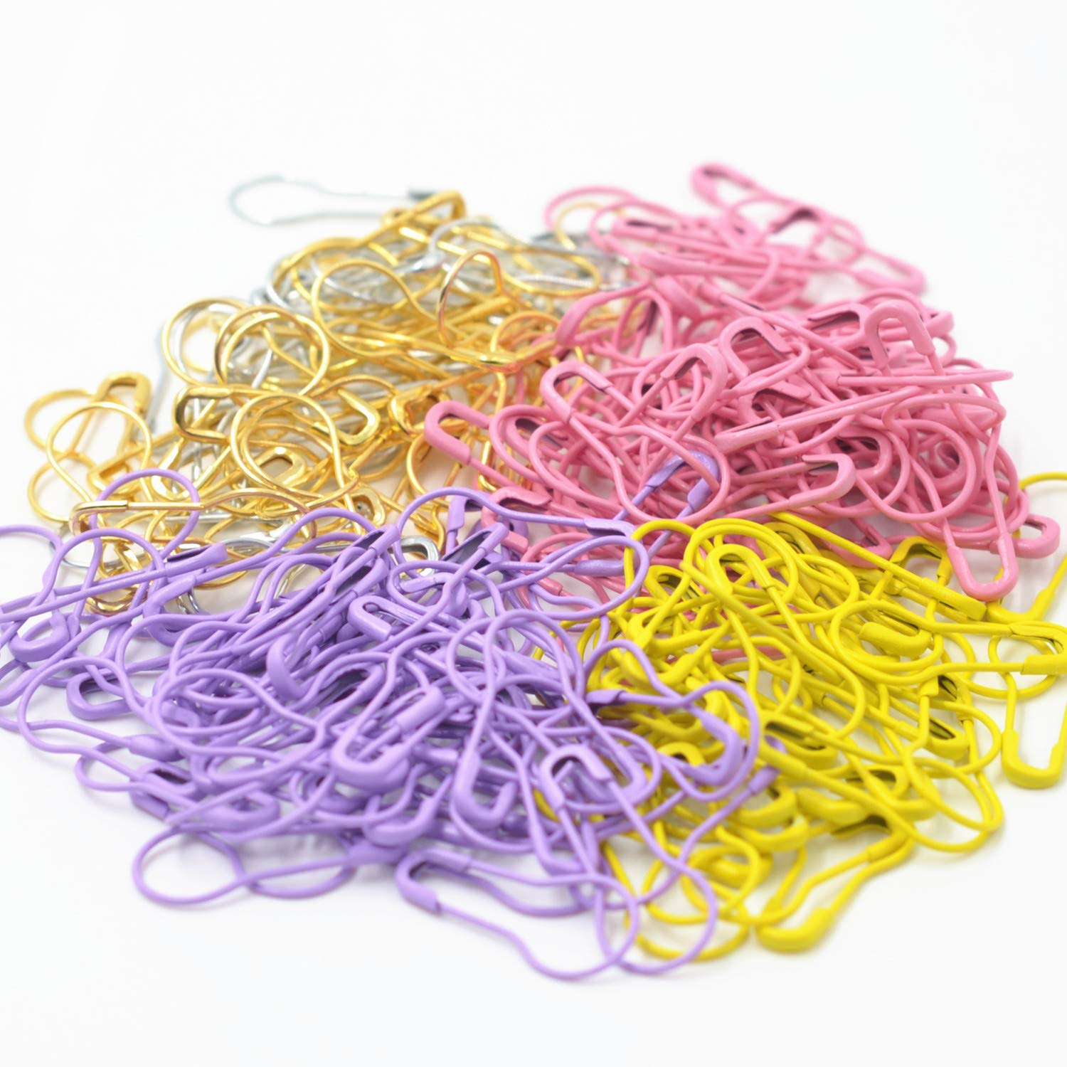 750 Pieces 15 Colors Assorted Bulb Safety Pins Pear Shaped Pins Calabash Pin Knitting Stitch Markers Sewing Making with Storage Box