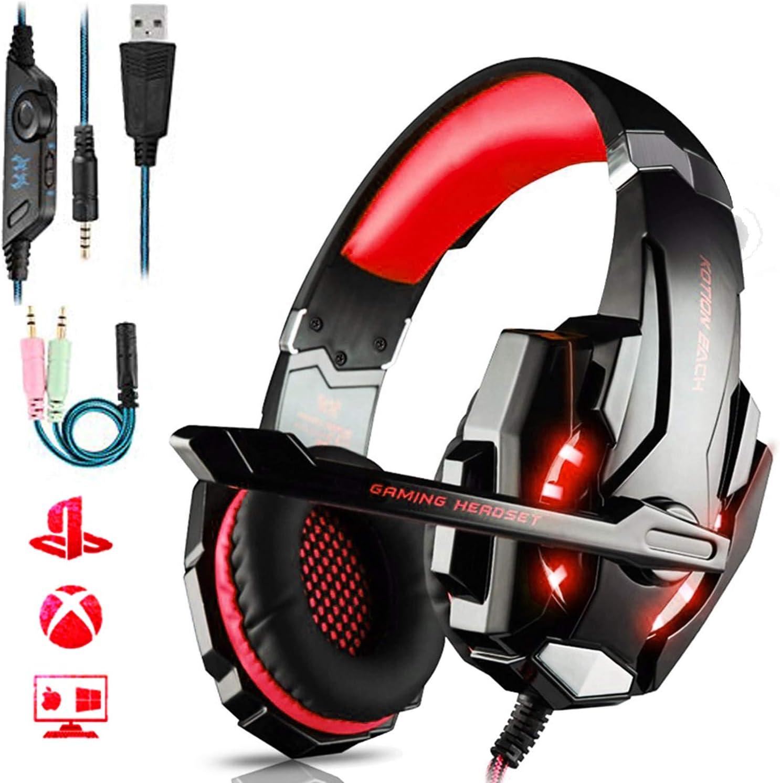 Auriculares Gaming PS4,Cascos Gaming de Mac Estéreo con Micrófono Cascos Gaming 3.5mm Jack con Luz LED Bass Surround y Cancelación de Ruido Auriculares Compatible con PC/Xbox One/Nintendo Switch