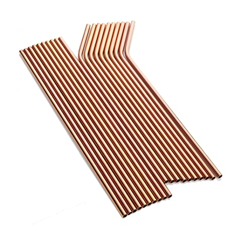 a9f9ef37467 Amazon.com: Buyer Star 20 Pieces Metal Straw, Rose Gold Extra Long Drinking Stainless  Steel Reusable Smoothie Straws for Yeti Tumbler Rambler Mugs: Kitchen ...