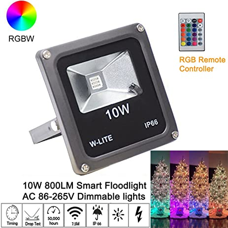 10W Color Changing Outdoor Spotlight with Remote Control RGB LED Flood Lights IP65 Waterproof Wall Washer Light,16 Colors 4 Modes Dimmable Stage Lighting with US 3-Plug-Z2