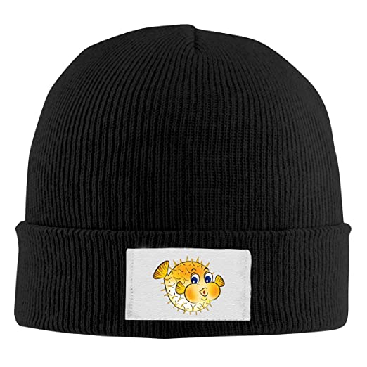 7f393c163dc0a Amazon.com  Puffer Fish Knit Hat Beanie Cap Fashion Unisex Winter ...